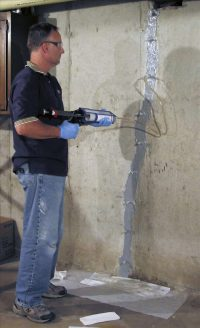 cracked foundation repair injecting aurora IL
